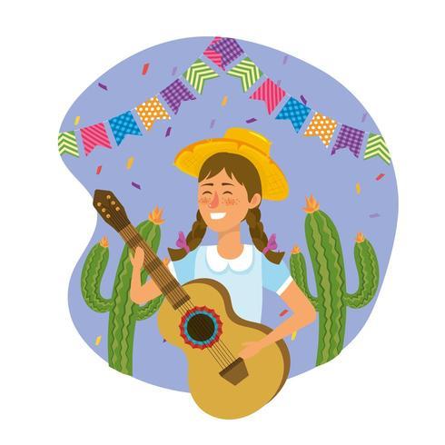 vrouw met hoed met gitaar en cactus planten vector