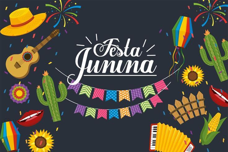 feest banner voor festa junina viering vector