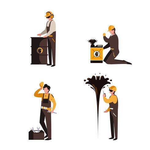 groep werknemers olie-industrie vector