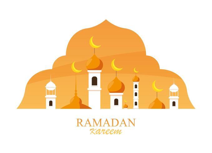 ramadan kareem moskee gebouw in frame vector