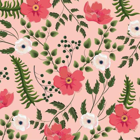 exotische bloemen met takken verlaat achtergrond vector