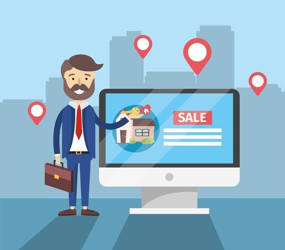 zakenman met computer naar huis verkooplocatie vector