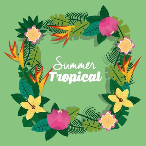 zomer tropisch seizoen bloemen krans vector