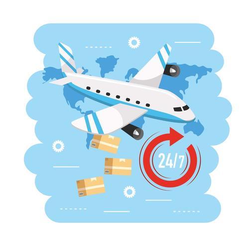 vliegtuig transport met dozen naar bezorgservice vector