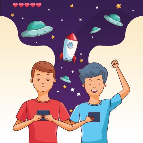 Tieners spelen ruimtevideospelletje vector
