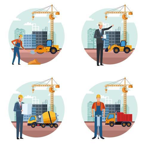 bouw ingenieur cartoon set vector