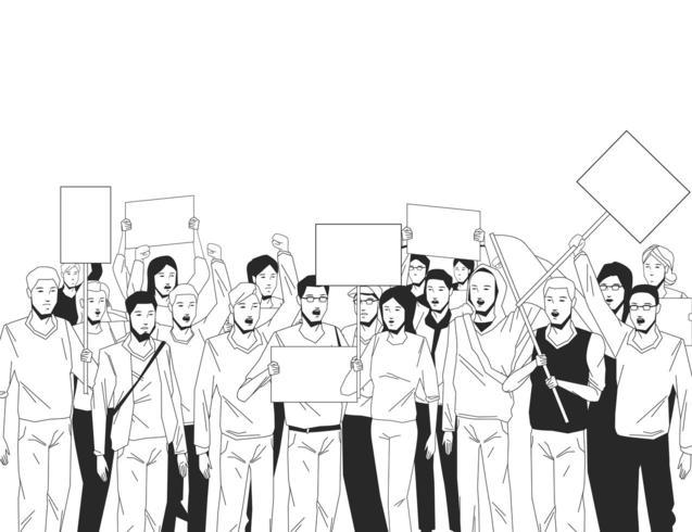 groep mensen met uithangbord in zwart en wit vector