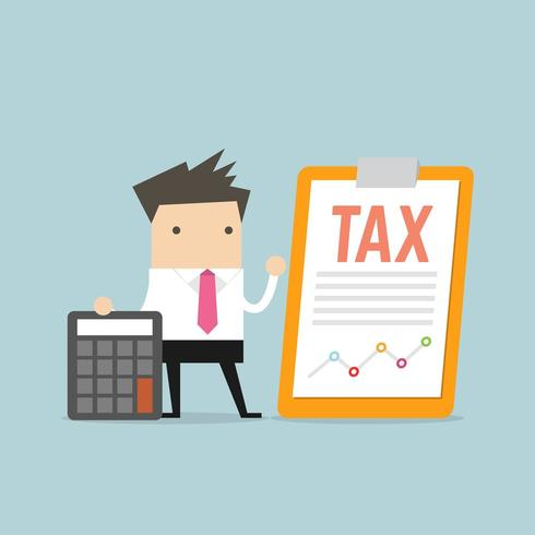 Zakenman die zich met belastingsdocument bevinden op klembord vector