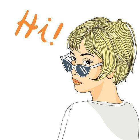 Vrouwen met kort haar dragen een minimalistische zonnebrilstijl vector