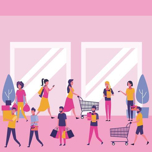 Mensen winkelen in winkelcentrum vector
