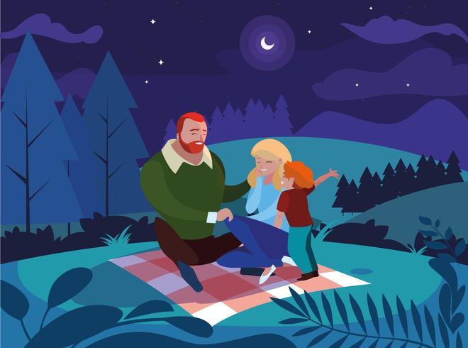 ouders met zoonfamilie in natuurlijk nachtlandschap vector