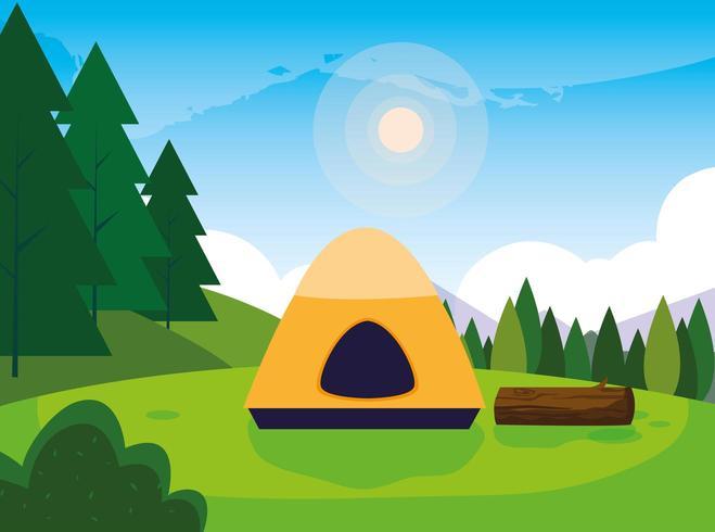 camping zone met tent dag landschap vector