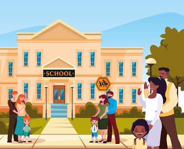 gevel van school met ouders en kinderen vector