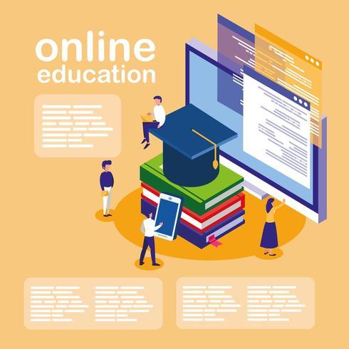 online onderwijs met desktop en mini-mensen vector