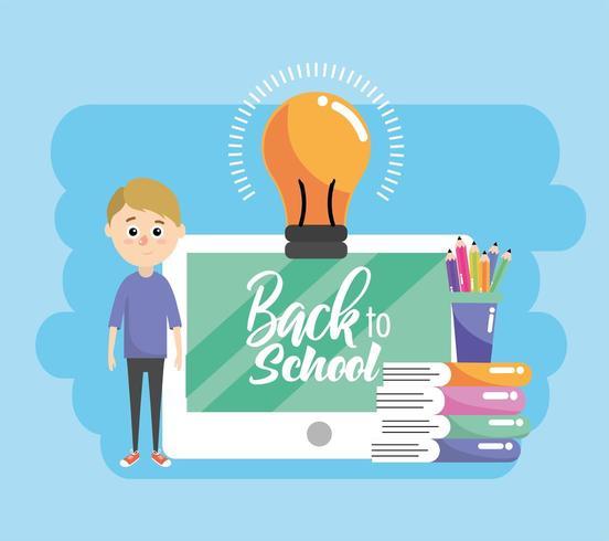 jongen en onderwijs tablet met boeken en potloden kleuren vector
