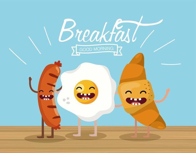 vrolijke worstjes met gebakken ei en croissant vector