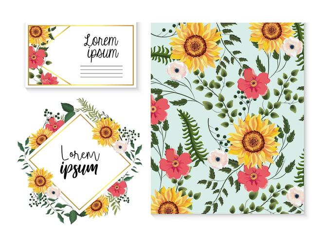 kaart en label instellen met zonnebloemen en takken bladeren vector