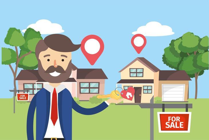 zakenman met huizen verkoop onroerend goed en locatie vector