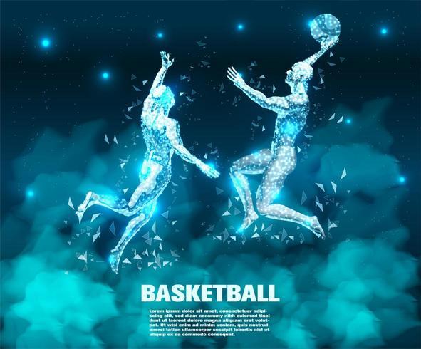 Basketbalspeler Abstracte technologie vector