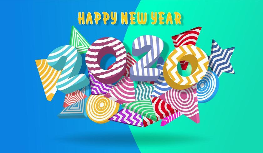 Gelukkig nieuw jaar 2020 kleurrijk ontwerp 3D vloeibare achtergrond vector