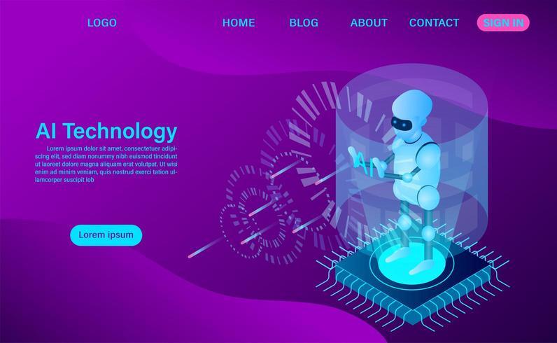 Kunstmatige intelligentie robottechnologie vector