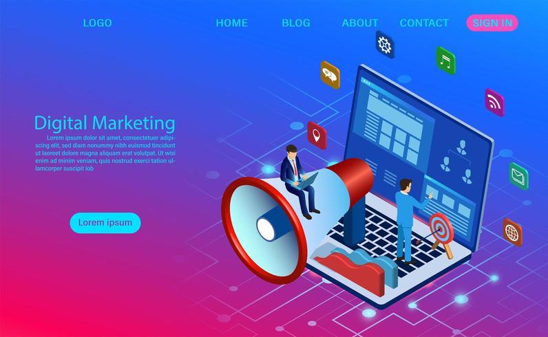 Digitaal marketingconcept voor banner- en website-bestemmingspagina vector