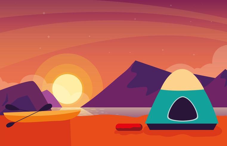 camping zone met tent zonsondergang scène vector