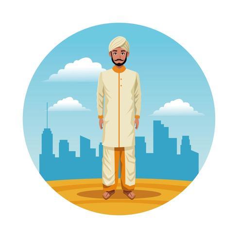 Indiase India man ronde pictogram cartoon vector