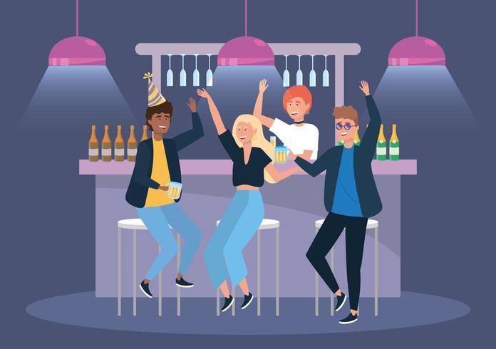 vrouwen en mannen in het evenement met bier en champagne vector