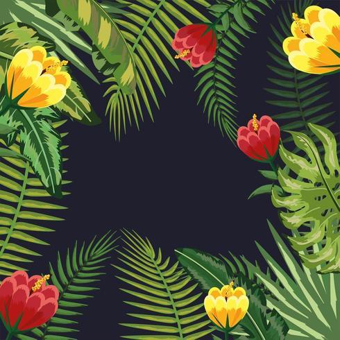 takken bladeren planten en bloemen achtergrond vector