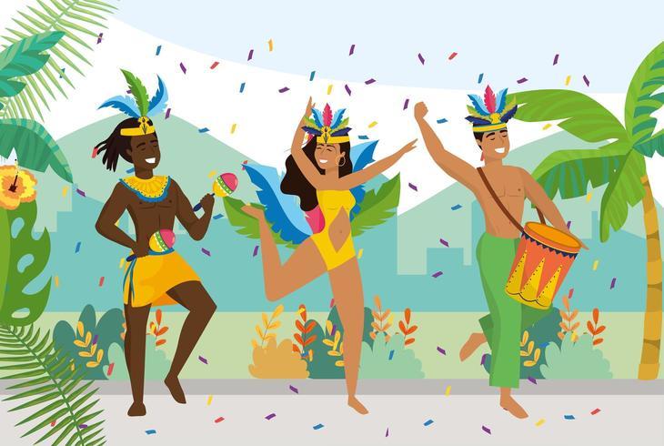 mannen en meisjes dansers met traditionele klederdracht vector
