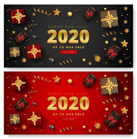 Gelukkig Nieuwjaar 2020 verkoop banner set vector