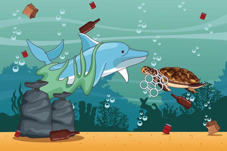 Zee schoonmaak tekenfilms vector