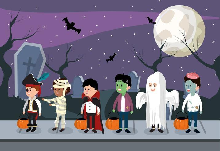 Kinderen en Halloween nacht vector