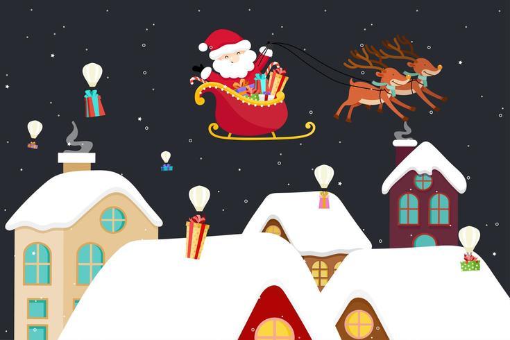 Christmas wenskaart met Santa in slee vector
