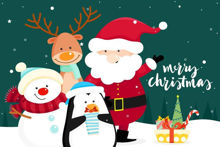 Christmas wenskaart met kerst kerstman, sneeuwpop en pinguïn vector