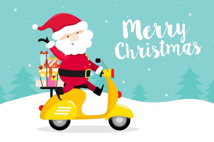 Christmas wenskaart met Santa Claus op Scooter vector