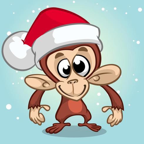 Cartoon chimpansee aap Kerstmis vector