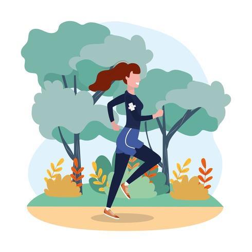 vrouw oefenen lopende oefening in het landschap vector