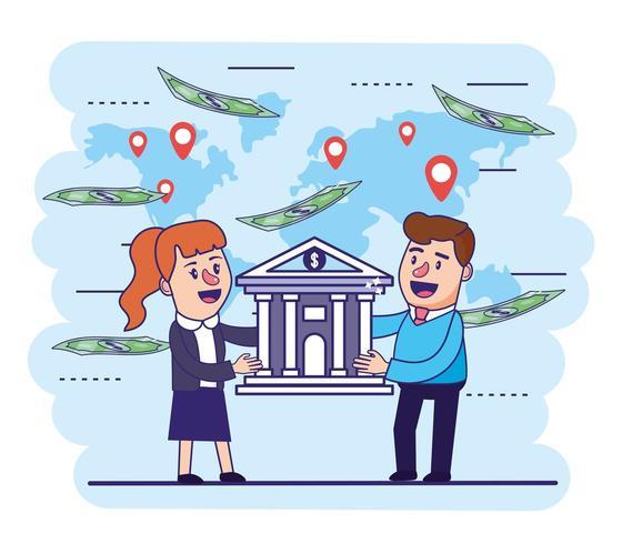 vrouw en man met digitale bank en rekeningen vector