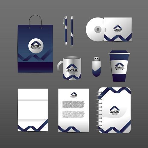 Set van zakelijke bedrijf stationaire sjabloon met documenten vector