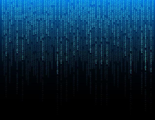 Blauwe binaire cyber circuit toekomstige technologie concept achtergrond vector