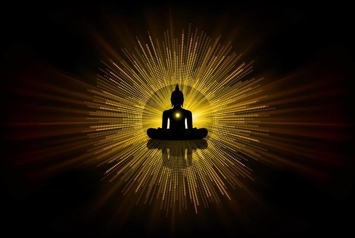 Het zwarte silhouet van Boedha tegen Donkere gele achtergrond. yoga vector