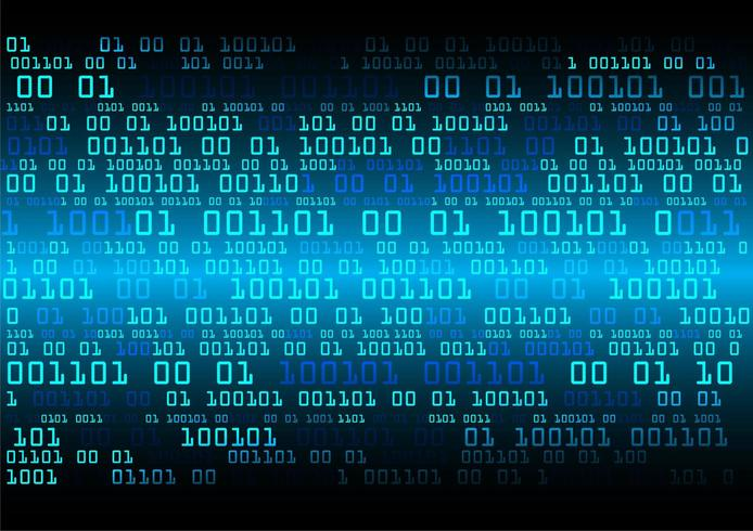 Blauwe binaire cybercircuit toekomstige technologie vector