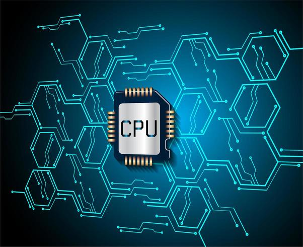 Blauwe CPU cyber vector