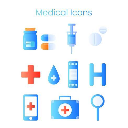 Set van medische pictogrammen, teken en symbolen in plat ontwerp vector