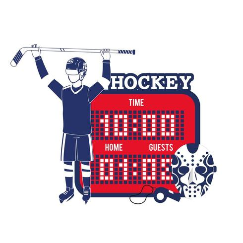 professionele hockeyspeler met tijdstippen vector