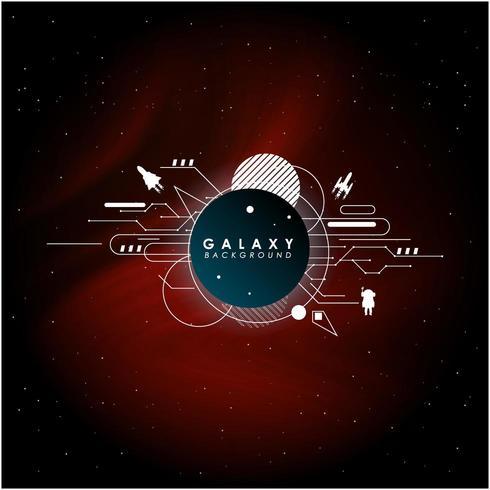 Galaxy-achtergrond met ruimtepictogrammen vector
