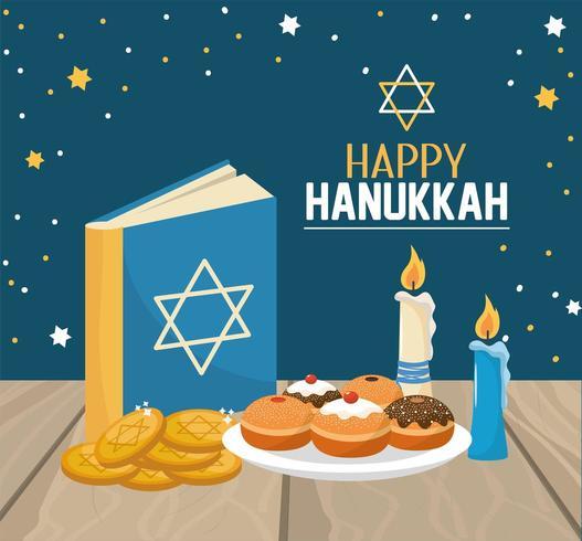 Hanukkah boek met brood en koekjes viering vector