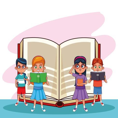 Kinderen en boeken tekenfilms vector